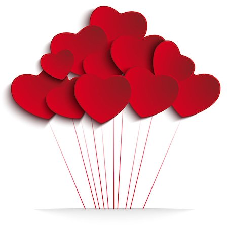 fun happy colorful background images - Vector - Valentines Day Heart Balloons on Red Background Stock Photo - Budget Royalty-Free & Subscription, Code: 400-07215157