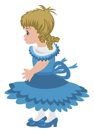 Illustration of beautiful little girl in blue dress Stock Photo - Budget Royalty-Free & Subscription, Code: 400-07215432
