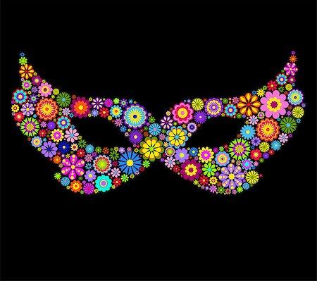 Illustration of flower mardi gras mask on black background. Stock Photo - Budget Royalty-Free & Subscription, Code: 400-07215634