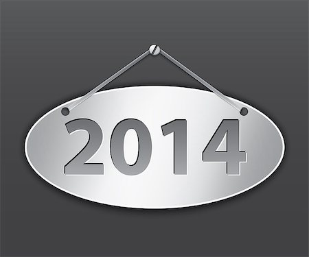 Metallic oval tablet for 2014 year. Vector illustration Stock Photo - Budget Royalty-Free & Subscription, Code: 400-07215674