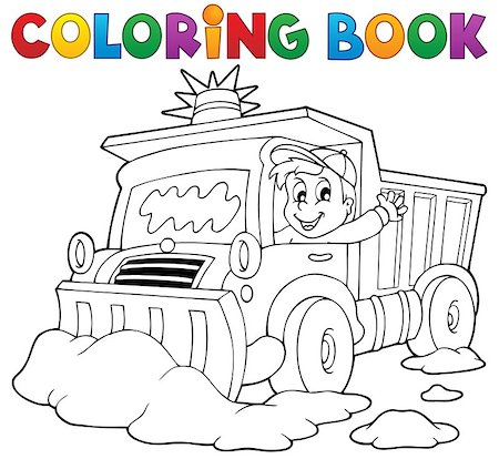 snow plow truck - Coloring book snow plough - eps10 vector illustration. Stock Photo - Budget Royalty-Free & Subscription, Code: 400-07215734