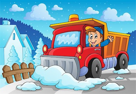 snow plow truck - Snow plough theme image 2 - eps10 vector illustration. Stock Photo - Budget Royalty-Free & Subscription, Code: 400-07215754