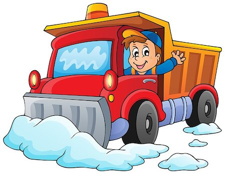 snow plow truck - Snow plough theme image 1 - eps10 vector illustration. Stock Photo - Budget Royalty-Free & Subscription, Code: 400-07215753