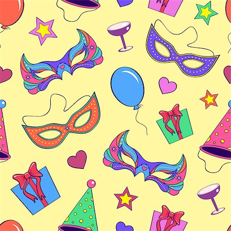 Vector illustration of seamless pattern with different elements of party Stock Photo - Budget Royalty-Free & Subscription, Code: 400-07215782