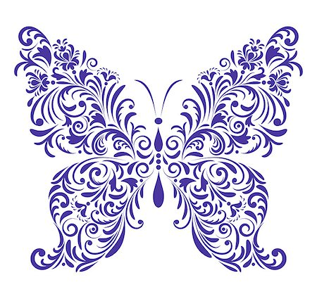 Vector illustration of abstract floral butterfly isolated on white background Stock Photo - Budget Royalty-Free & Subscription, Code: 400-07215805