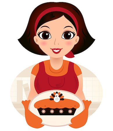 Vintage cooking Woman. Vector Illustration Stock Photo - Budget Royalty-Free & Subscription, Code: 400-07216167