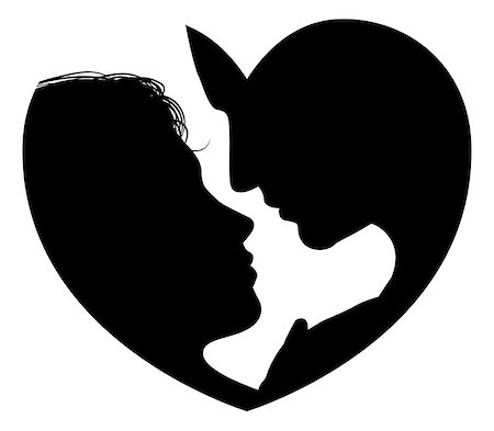Couple faces heart silhouette concept. Silhouette of man and womans heads forming a heart shape Stock Photo - Budget Royalty-Free & Subscription, Code: 400-07216352