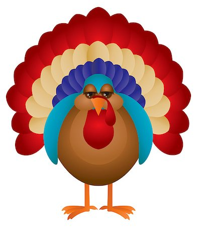 Colorful Turkey Cute Cartoon For Thanksgiving Isolated on White Background Illustration Stock Photo - Budget Royalty-Free & Subscription, Code: 400-07216525