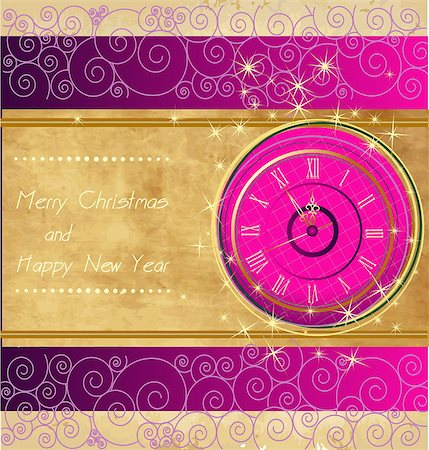 fireworks vector - Happy New Year and Merry Christmas vintage background with clock Stock Photo - Budget Royalty-Free & Subscription, Code: 400-07217165
