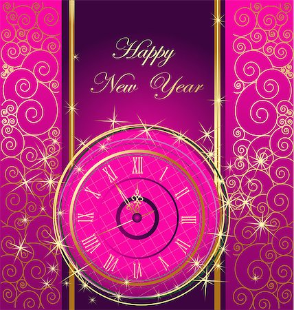 Happy New Year background with clock Stock Photo - Budget Royalty-Free & Subscription, Code: 400-07217163