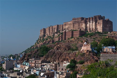 The Mehrangarh Fort, magnificent fortified palace  in Jodhpur, Rajasthan, India. This maharajah residence became in 2013 Unesco world heritage site. Stock Photo - Budget Royalty-Free & Subscription, Code: 400-07217660