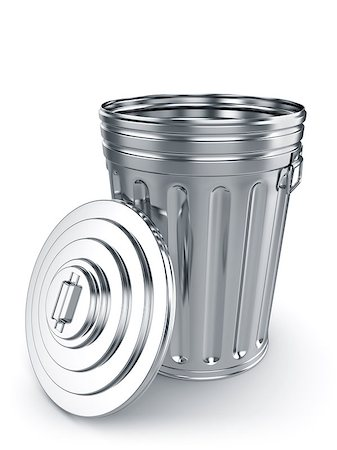 3d render of opened trash can isolated on white background Stock Photo - Budget Royalty-Free & Subscription, Code: 400-07217870