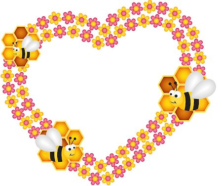 flying hearts clip art - Scalable vectorial image representing a bee and his honey flower heart frame, isolated on white. Stock Photo - Budget Royalty-Free & Subscription, Code: 400-07217940