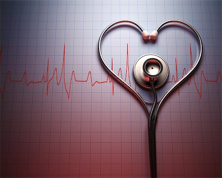 Stethoscope in shape of heart on a graph of the patient's heartbeat. Stock Photo - Budget Royalty-Free & Subscription, Code: 400-07218117