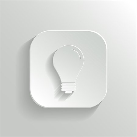 Light bulb icon - vector white app button with shadow Stock Photo - Budget Royalty-Free & Subscription, Code: 400-07218700