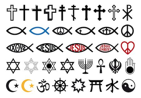 religious symbols, religion signs, vector icon set Stock Photo - Budget Royalty-Free & Subscription, Code: 400-07218922