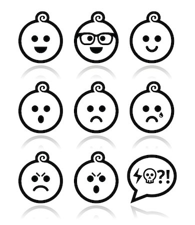 Collection of child faces - happy, sad, angry isolated on white Stock Photo - Budget Royalty-Free & Subscription, Code: 400-07219186