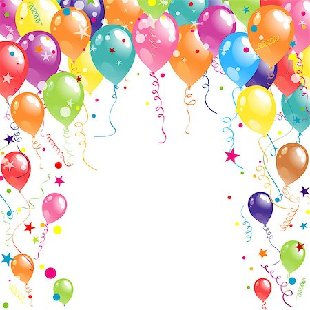 Color beautiful party balloons, vector illustration Stock Photo - Budget Royalty-Free & Subscription, Code: 400-07219274