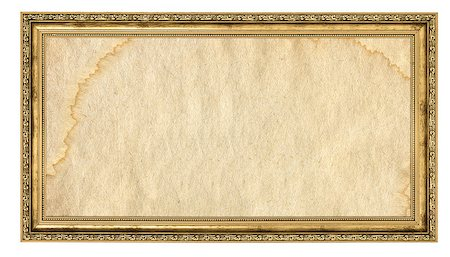 gold frame with empty stained background isolated on white Stock Photo - Budget Royalty-Free & Subscription, Code: 400-07210799