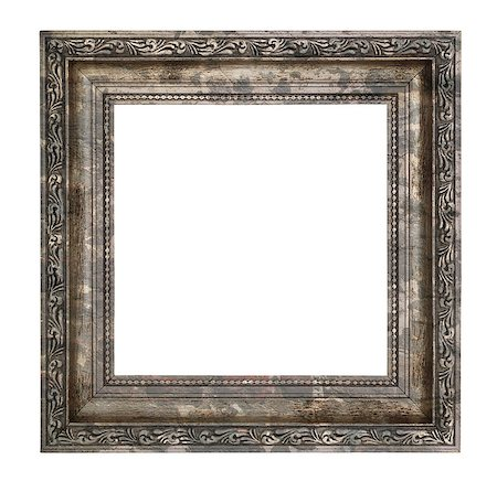 Ruined wooden frame with thick border isolated on white background Stock Photo - Budget Royalty-Free & Subscription, Code: 400-07211755