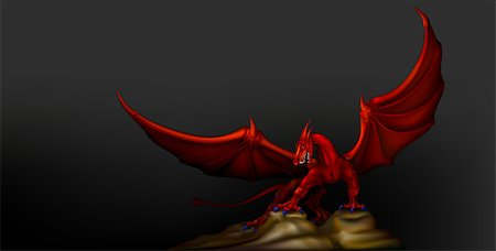 red dragon wings revealed Stock Photo - Budget Royalty-Free & Subscription, Code: 400-07213703