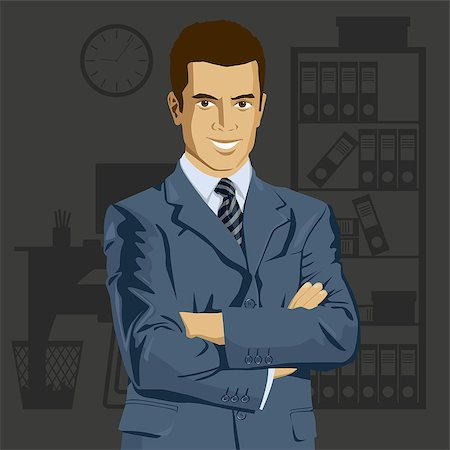 Vector business man in suit with folded hands. All layers well organized and easy to edit Stock Photo - Budget Royalty-Free & Subscription, Code: 400-07213745