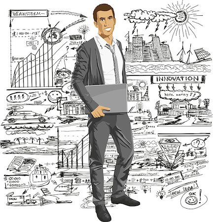 Vector business man with laptop in his hands. All layers well organized and easy to edit Stock Photo - Budget Royalty-Free & Subscription, Code: 400-07213753