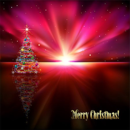 abstract purple greeting with Christmas tree and stars Stock Photo - Budget Royalty-Free & Subscription, Code: 400-07213985