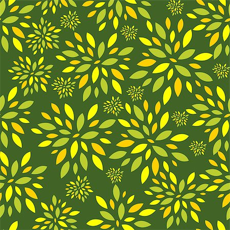 seamless floral - Flower Leaves Seamless Pattern Background Vector Illustration Stock Photo - Budget Royalty-Free & Subscription, Code: 400-07224103