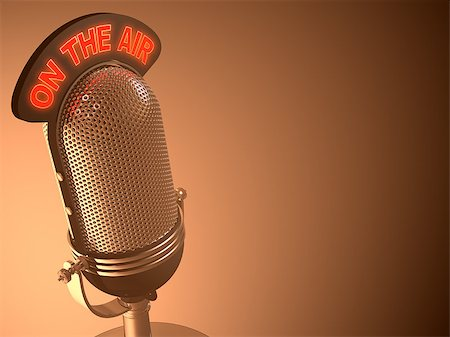 Classic microphone in closed perspective view. Your text on right space. Stock Photo - Budget Royalty-Free & Subscription, Code: 400-07224383