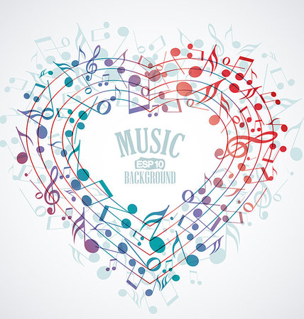 Background with heart made up of musical notes Stock Photo - Budget Royalty-Free & Subscription, Code: 400-07220880
