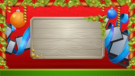 Christmas card with a wooden board on a red background from the device, decorations and ribbon Stock Photo - Budget Royalty-Free & Subscription, Code: 400-07221119