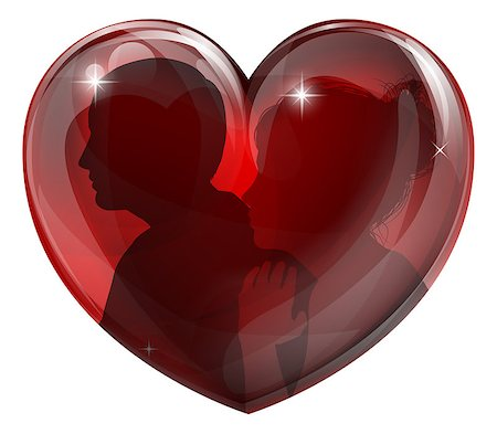 Couple silhouettes heart; a loving couple in a glossy heart shape. Concept for loving couple. Stock Photo - Budget Royalty-Free & Subscription, Code: 400-07221234