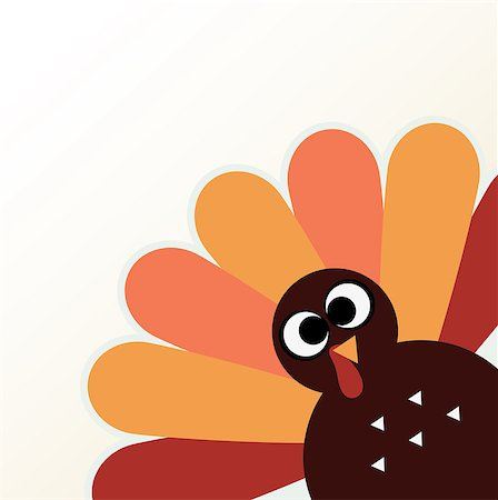 Happy Thanksgiving day with colorful funny Turkey. Vector Illustration Stock Photo - Budget Royalty-Free & Subscription, Code: 400-07221512