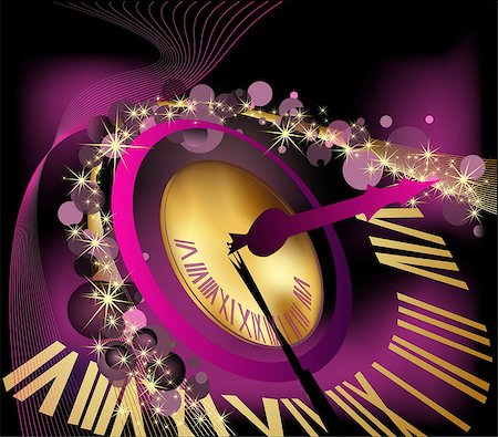 fireworks vector - Happy New Year  background  with clock Stock Photo - Budget Royalty-Free & Subscription, Code: 400-07221603