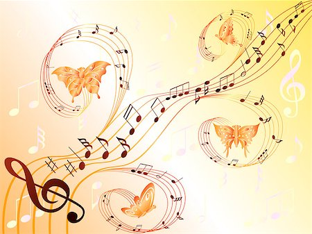 Various musical notes on stave and butterflies flying along, hand drawing stylized vector illustration Stock Photo - Budget Royalty-Free & Subscription, Code: 400-07221780