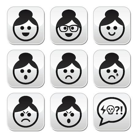 Collection of old woman, girl with asian hair style faces - happy, sad, angry Stock Photo - Budget Royalty-Free & Subscription, Code: 400-07221782