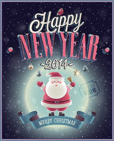 New Year Poster with Santa. Vector illustration. Stock Photo - Budget Royalty-Free & Subscription, Code: 400-07222095