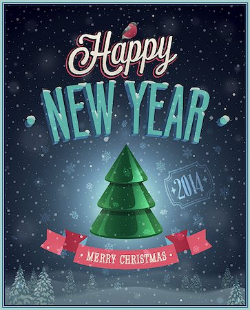 New Year Poster with Christmas tree. Vector illustration. Stock Photo - Budget Royalty-Free & Subscription, Code: 400-07222093