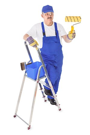 house painter on the ladder is painting invisible wall Stock Photo - Budget Royalty-Free & Subscription, Code: 400-07222315