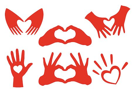 heart shaped hands set, vector design elements Stock Photo - Budget Royalty-Free & Subscription, Code: 400-07222476