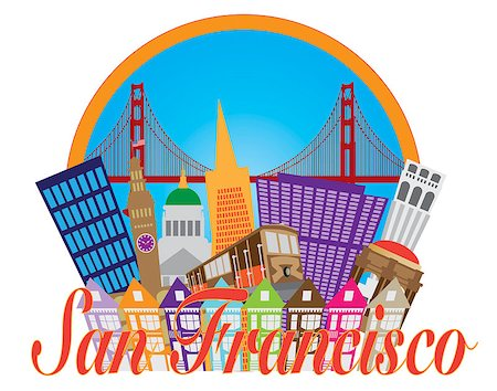 San Francisco Cailfornia Abstract Downtown City Skyline with Golden Gate Bridge and Cable Car Isolated on White Background Illustration Stock Photo - Budget Royalty-Free & Subscription, Code: 400-07222701