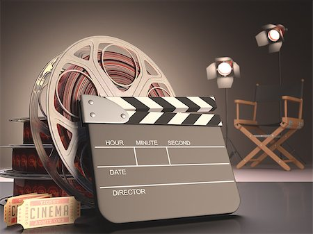 Clapboard concept of cinema. Stock Photo - Budget Royalty-Free & Subscription, Code: 400-07223338