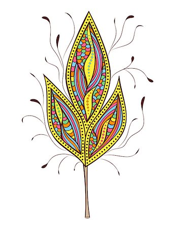 Vector illustration of  abstract colorfull  leaf on white background Stock Photo - Budget Royalty-Free & Subscription, Code: 400-07223434