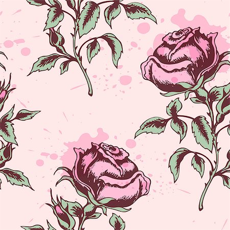 Vector vintage floral seamless pattern with pink roses Stock Photo - Budget Royalty-Free & Subscription, Code: 400-07223527