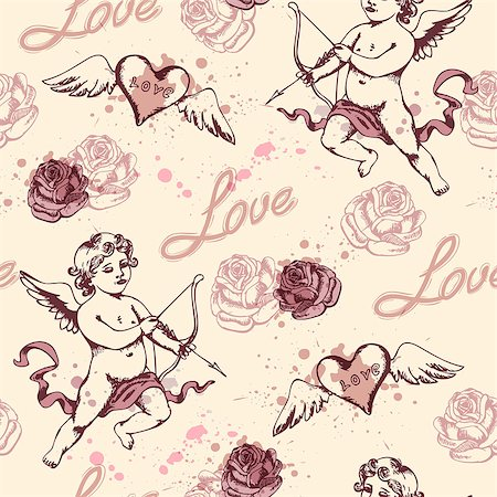 Vintage seamless pattern with Cupid for Valentine's day Stock Photo - Budget Royalty-Free & Subscription, Code: 400-07223528