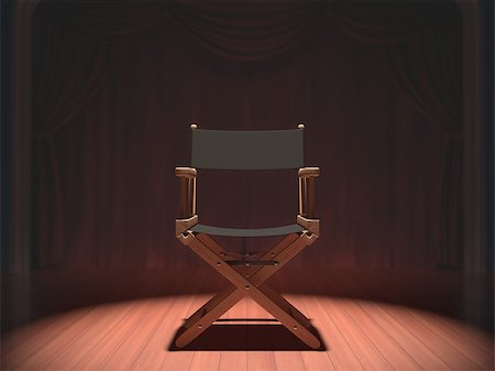 Director's chair on the stage illuminated by floodlights. Stock Photo - Budget Royalty-Free & Subscription, Code: 400-07223599