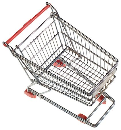 empty shopping cart - Empty Shopping Trolley from Above Isolated on White Background Stock Photo - Budget Royalty-Free & Subscription, Code: 400-07244196