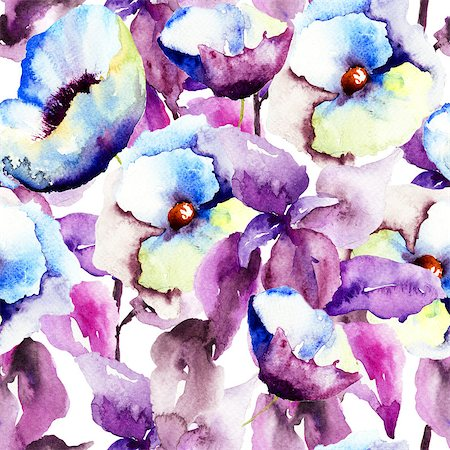 Seamless pattern with Beautiful Blue flowers, Watercolor painting Stock Photo - Budget Royalty-Free & Subscription, Code: 400-07245324
