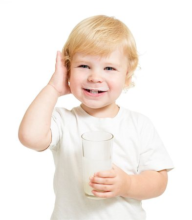 kid drinking dairy product from glass isolated on white Stock Photo - Budget Royalty-Free & Subscription, Code: 400-07246801